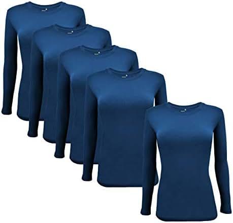 Natural Uniforms Women's Long Sleeve Underscrub Stretch T-Shirt Scrub Top - Multi Pack of 5