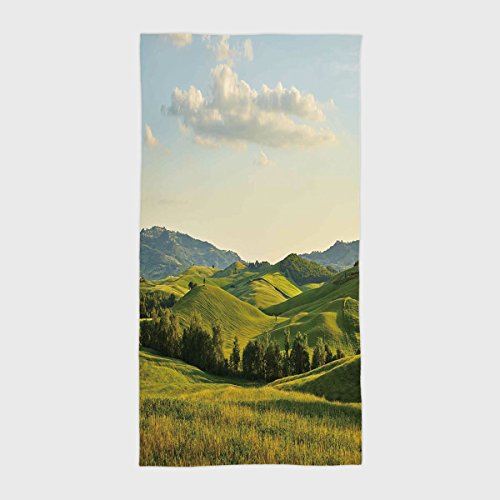 iPrint Cotton Microfiber Hotel SPA Beach Pool Bath Hand Towel,Country,Tuscany Hills Italy Meadow Greenery Pastoral Rural Scenery Farmland Scenic,Green Light Blue,for Kids, Teens, and Adults by iPrint (Image #6)
