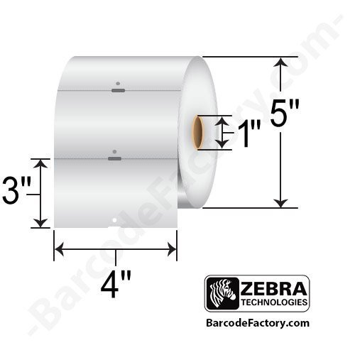 Zebra Technologies 10010056 Z-Select 4000D 7.5 mil Paper Tag, Direct Thermal, Perforated, Sensing Notch, 4