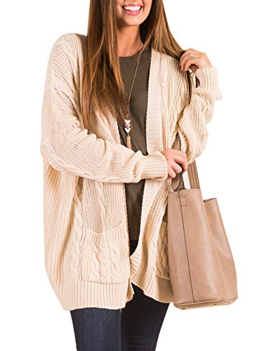 AMAURAS S-4XL Women Cable Knit Open Front Loose Sweater Cardigan Casual Coat Outerwear,Cream,Large