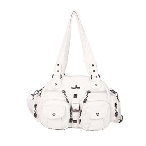 (Angelkiss 2 Top Zippers Large capacity Handbags Washed Leather Purses Shoulder Bags AK18579 (White))