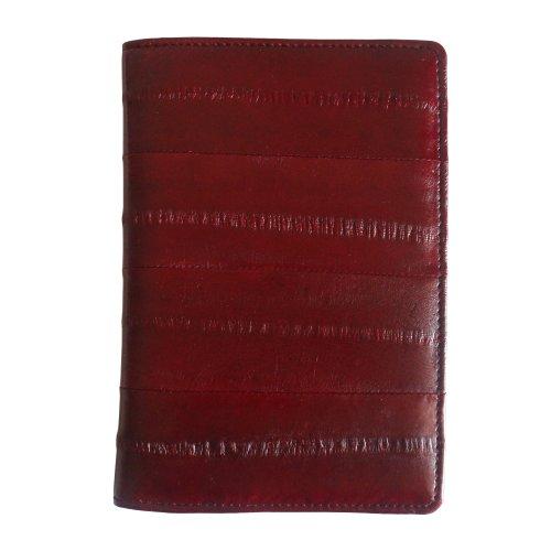 Rainbow Men's Women's Genuine Eel Skin Leather Passport Holder Cover Wallet (Wine)
