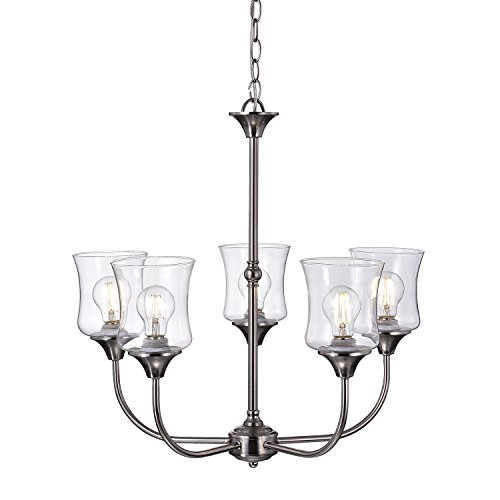 (Edvivi Tulipe 5-Light Brushed Nickel Finish Chandelier | Traditional Lighting)