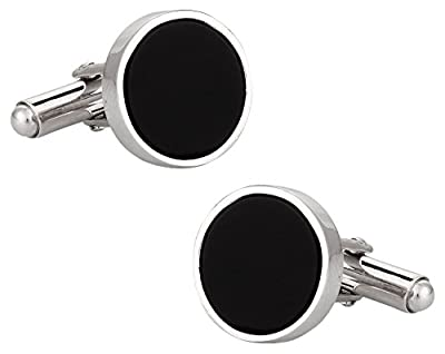 Cuff-Daddy Solid 925 Sterling Silver Onyx Cufflinks with Presentation Box
