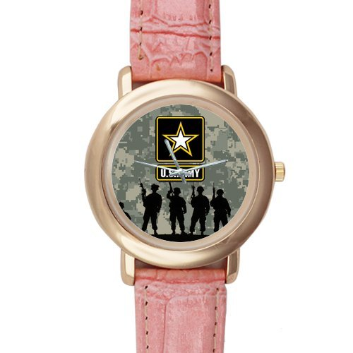 Gifts for girls or ladies US Army Soldiers and Camouflage Background Pink Leather Alloy High-grade Watch