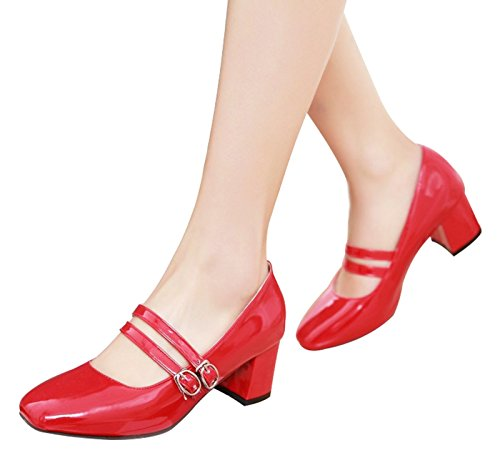 Jiu Causal Thong Red Shoes Chunky Toe PU High Heel Closed du Strap Women's Pumps Formal Patent with Dress XqxwXA4rO