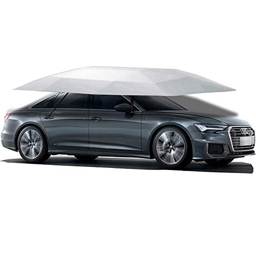 Jolitac Car Tent Semi-Automatic, Portable Car Umbrella Tent Cover Movable Carport Folded Automobile Cars Protection Canopy with Sun Shade Anti-UV, Water-Proof, Snow Wind Proof (Manual, Silver Tent)