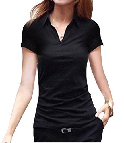 十分ではない応援するスチュワードELPIS レディース 半袖 ポロシャツ Vネック Tシャツ シンプル カットソー M L XL XXL 全3色 ( ブラック,L )