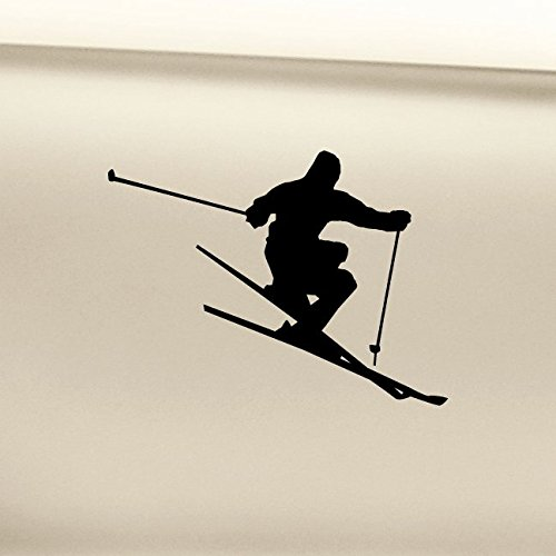 (Skiing Skier Ski Vinyl Decal Laptop Car Truck Bumper Window Sticker - Black)