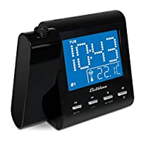 Electrohome EAAC601 Projection Alarm Clock with AM/FM Radio, Battery Backup, Auto Time Set, Dual Alarm, Nap/Sleep Timer, Indoor Temperature/Day/Date Display with Dimming, 3.5mm Audio Connection from Electrohome