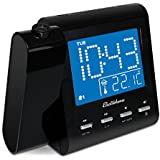Electrohome EAAC601 Projection Alarm Clock with AM/FM Radio, Battery Backup, Auto Time Set, Dual Alarm, Nap/Sleep...