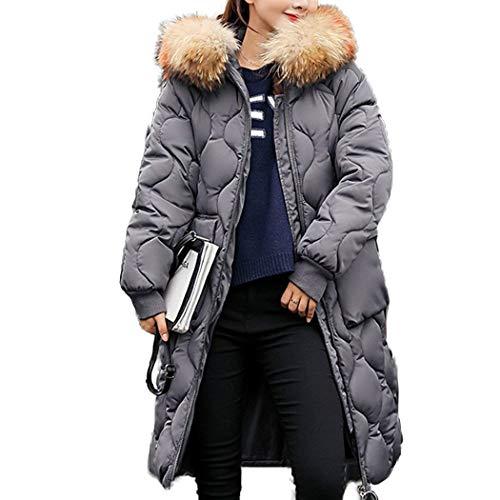 Alta Cappotto Donna Qualità Mantello Dunkelgrau Di Caldo Puro Transizione Con Manica Vintage Cappotti Cappuccio Invernali Cerniera Tasche Piumini Lunga Anteriori Colore nrBfa