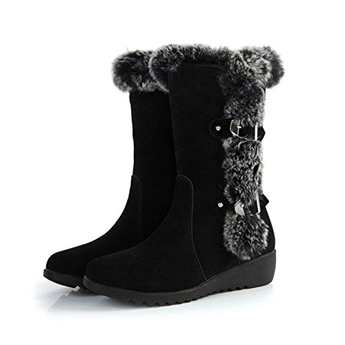 SNIDEL Womens Mid Calf Snow Boots Platform Low Wedge Heel Flats Slip on Sneakers Warm Fur Winter Boot with Buckle Black9.5 B (M) US