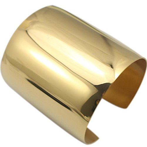 COUYA Stainless Steel Gold Plated Women Big Heavy Long Cuff Bangle Bracelet