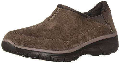 Skechers Women's Easy Going-Hive-Twin Gore Shootie with Faux Fur Trim Loafer, Chocolate, 7.5 M US