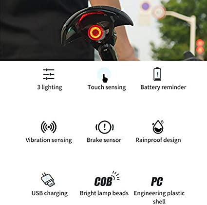 Faro Trasero Bici Luz De Freno Super Brillante Rojo Luz Led Bici Impermeable Wasafire Luz Trasera De Bicicleta Inteligente Recargable USB