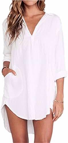 ZANZEA Women's Chiffon Sheer One pocket V-neck Long Sleeve Shirts Blouses Tops
