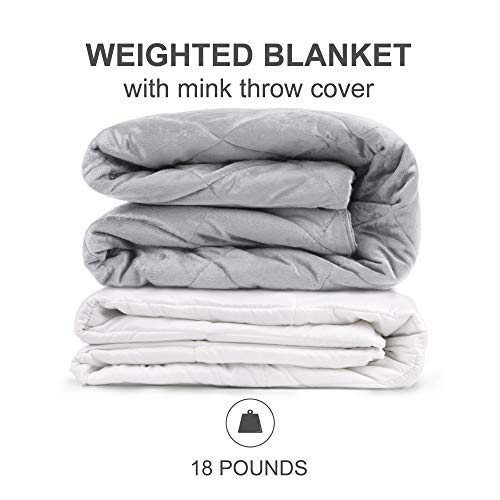 Beautyrest Luxury Quilted Ultra Soft Warm Mink Glass Beads Filling Relaxing Zipper Cover Pressure  Weighted Blanket For Adults Anxiety Better Sleep, 60X70'-12Lbs, Grey