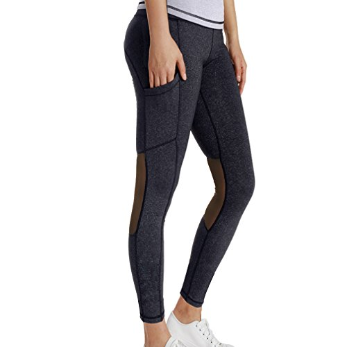 August Jim Women Mesh Yoga Pants,Pocket High Waist Full Length Active Tights Gym Workout Running Sports Leggings