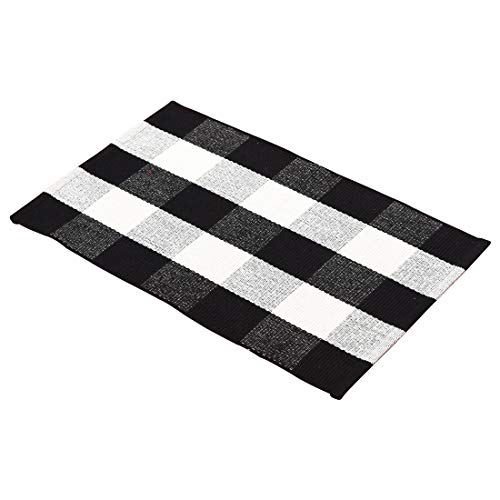 (JINSEY Farmhouse Decor Black and White Buffalo Checks Plaids 100% Cotton Kitchen Mat Runner Rug Doormat for Porch/Kitchen/Entry Way/Laundry Room/Bedroom/Bathroom 23.6