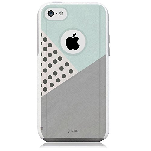 iPhone 5c Case White Geometric Mint Polka Dots [Dual Layered Hybrid] Protective Commuter Case for iPhone 5c White Case by Unnito
