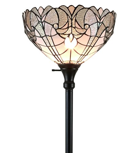 (Amora Lighting AM266FL14 White Tiffany-style Torchiere Floor Lamp, 72 Inches Tall)