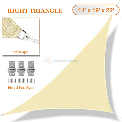 Sunshades Depot 11 x 19 x 22 Sun Shade Sail Right Triangle Permeable Canopy Tan Beige Custom Commercial Standard 180 GSM HDPE