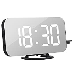 Alarm Clock, Digital Clock with Large 6.5 Easy-Read LED Display, Diming Mode, Easy Snooze Function, Mirror Surface, Dual USB Charger Ports