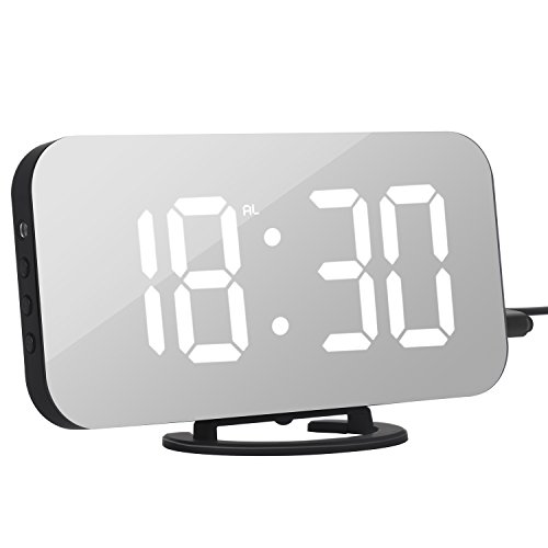 Adoric Alarm Clock with 6.5 Easy-Read LED Display, Snooze Function, Diming Mode, USB Charging
