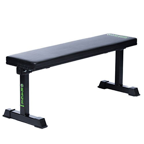 RAGE Fitness Flat Bench, Weightlifting Training, 1,000 lb Capacity