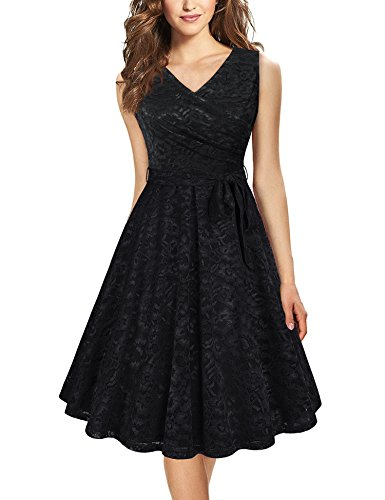 Laksmi-Dress-for-Women-PartyLadies-Summer-Fashion-Comfy-Fit-and-Flare-Sleeveless-Formal-Cocktail-Lace-Long-DressBlack-XL