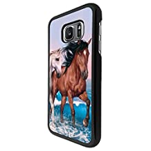 002403 - Cute Horses Fun Love Playful Horses Design For Samsung Galaxy Grand Prime Fashion Trend CASE Back COVER Plastic&Thin Metal - Black