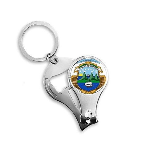 Costa Rica National Emblem Country Symbol Mark Pattern Metal Key Chain Ring Multi-function Nail Clippers Bottle Opener Car Keychain Best Charm Gift