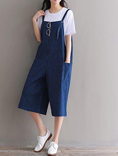 Donna blu 2 Strappy Righe Jumpsuit Ragazza Salopette A Stile Mallimoda Baggy 6PxSfwqq
