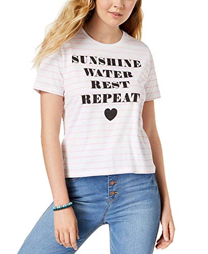 - Mighty Fine Juniors' Sunshine Striped Graphic T-Shirt (White, M)