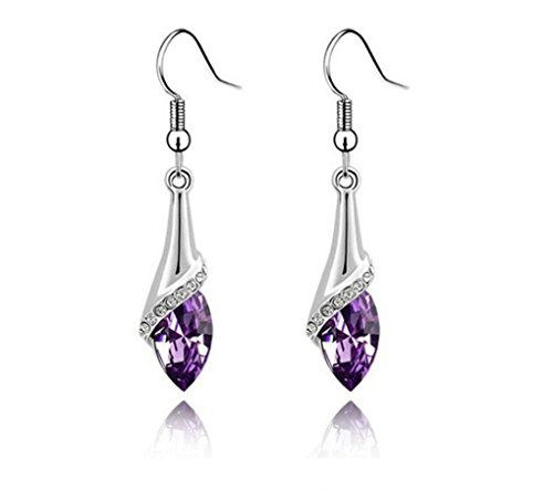 Price comparison product image Jaylove Clearance Sale 1 Pair Women Lady Engagement Jewelry Crystal Dangle Earrings Wedding Ear Studs Gift (Purple)