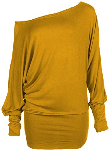Yellow Colour - Hot Hanger Womens Long Sleeve Off Shoulder Batwing Tunic Top All Colours & Plus Sizes : Color - Mustard : Size - 16-18 LXL