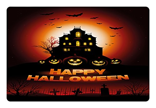 Lunarable Halloween Pet Mat for Food and Water, Happy Halloween Haunted House Flying Bats Scary Looking Pumpkins Cemetery, Rectangle Non-Slip Rubber Mat for Dogs and Cats, Black Orange Red]()
