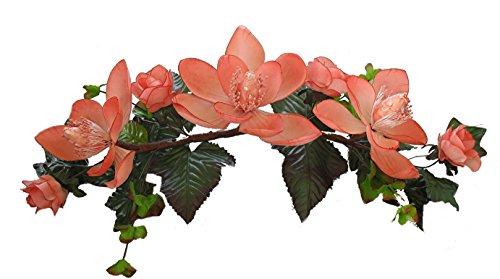 Wholesale Silk Floral Long Silk Magnolia Swag, 16'', Peach by Wholesale Silk Floral