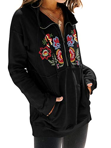 MYMORE Women's Floral Embroidery Shirt Drawstring Half Zip Up Long Sleeve Pullover Sweatshirt Top with Pockets