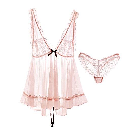 Spring Gift couples summer pink girls billowy flounces sweet lovely gauze bathrobe lace ice silk pajamas ,pink kit-YU&XIN