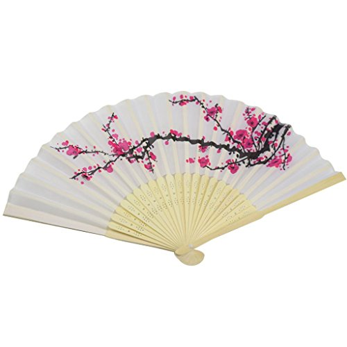 [Mchoice 1PC Fashion Folding Fan Delicate Japanese Plum Blossom Design Silk Costume Party] (Baby Blossom Costume)