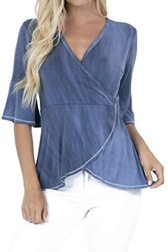 P1805 Women's Deep V-Neck 3/4 Sleeve Cross Wrap Tunic Peplum Blouse Tops Indigo M (Peplum Wrap)