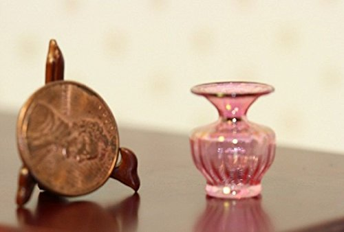 Vase Cranberry Glass (Dollhouse Miniature Artisan Glass Swirled Cranberry Vase by Philip Grenyer)