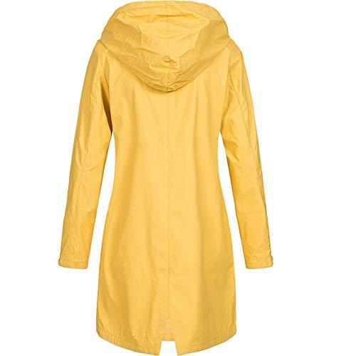 Abrigo Npradla Casual Manga Para Impermeable Amarillo Capucha Liso Mujer Larga ddx4r6n