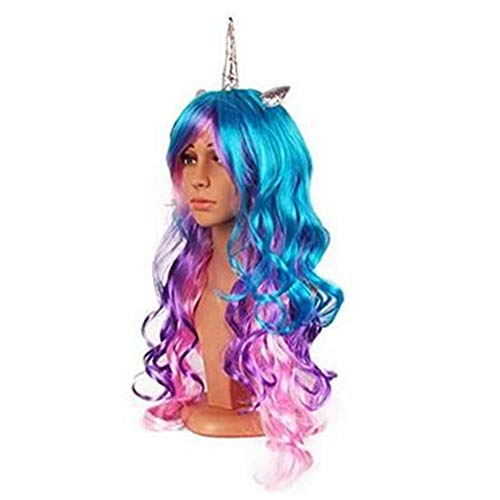 Sweenaly Golden Horn Silver Angle Little Ma Baoli Colorful Wig (Silver)]()