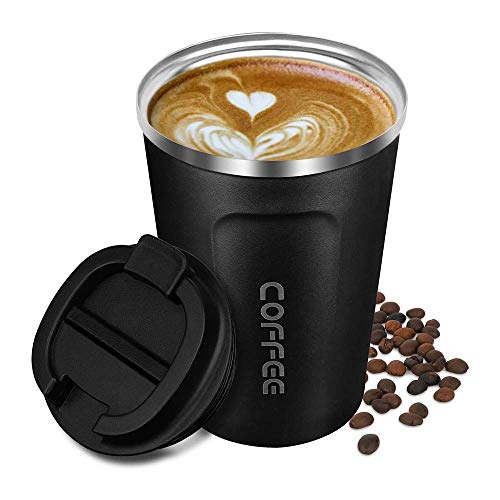 Pubiao Tazas de viaje 18oz / 380ml Taza de cafe aislada para oficina de acero con tapa a prueba de fugas Reutilizable Ecologica para cafe caliente, te y bebidas frias