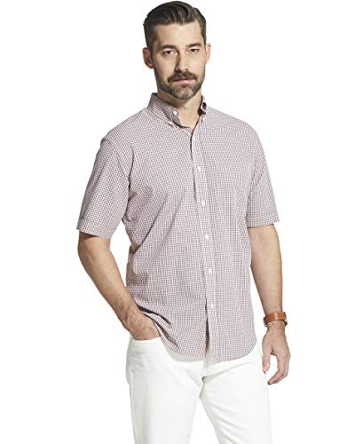 - Arrow 1851 Men's Hamilton Poplins Short Sleeve Button Down Plaid Shirt, Cranberry, Medium