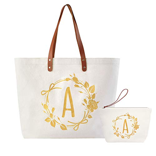 ElegantPark A Initial Monogram Personalized Party Gift Shoulder Tote and Travel Makeup Cosmetic Bag Zipper Canvas 2 Pcs