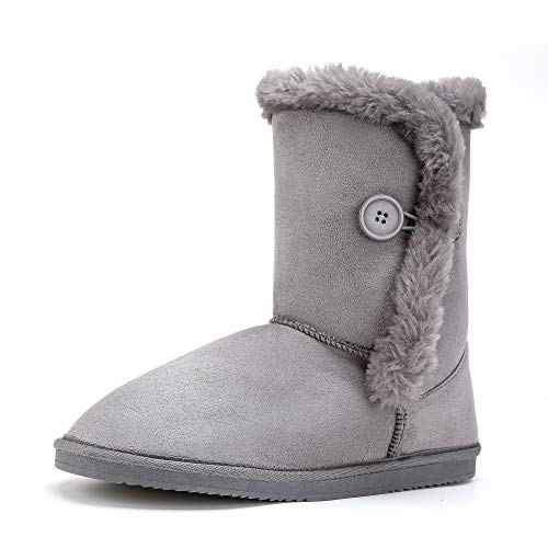 LUFFYMOMO Warm Snow Boots for Womens (7 M US Grey) (Like Snow Uggs Boots)